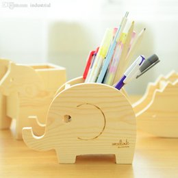 Barato Desenhos Animados De Pote De Lápis-Atacado-Cute Animais Madeira Desktop Pen Holder Case Burlywood Lápis Vaso Brush Pot Caneta Container Stedents Presente Cartoon Elephant Horse