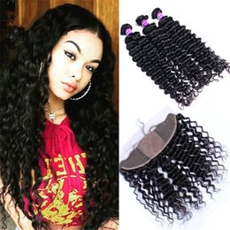34 inches hair Australia - Brazilian Hair Deep Wave Silk Base Lace Frontal Closure With Bundles 13X4 Ear To Ear Lace Frontal Closure With Bundles Deep Curly