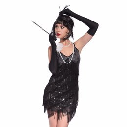 Barato Traje De Estilo Latino-Stunning Stage Dance Fringe Flapper Costume 1920's Great Gatsby Style Sequin Tassel V-Neck Cocktail Latin Party Dress