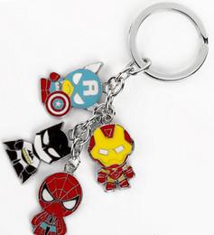 Superhero Keychains Canada - Hot! 50Set Mixed Superheroes Batman Iron Man Captain America Spiderman Metal Keychains Pendant Key Chain Key Ring 5 Styles
