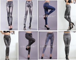 Look Sexy Jean Pas Cher-Mode Hot Sale Femmes Sexy Tattoo Jean Look Leggings Punk Sport Academies Habillement Jeans impression sans couture Big yards ultra elastic 10