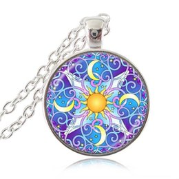 flower sun glasses UK - Celestial Mandala Flower Necklace Moon Pendant Om Yoga Chakra Jewelry Sun Star Necklace Glass Cabochon Pendant