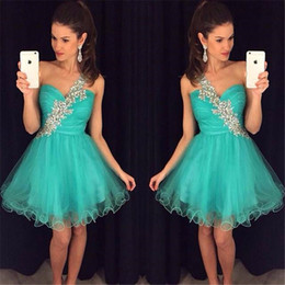 Discount sale chiffon short cocktail dresses - Shinny Cheap Short Prom Dresses Crepe Ball Gown One-Shoulder Homecoming Dress Sleeveless Above Knee Cocktail Graduation