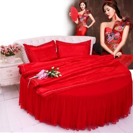 luxury super king beds Canada - Chinese Style Red Round Bed Home Bedding 4pcs sets Lace Brief lUXURY Bedding kit super king size 2.5m Bedclothes Free shipping Duvet cover