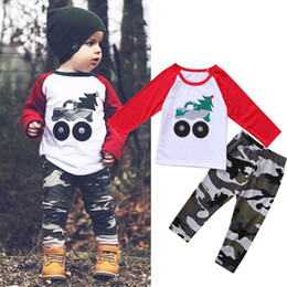 Barato Camuflagem Dos Meninos Camiseta-2017 hot 1-5T Toddler Kids Baby Boy Clothes T-shirt de manga comprida Tops + Camouflage Pant 2Pcs Outfit
