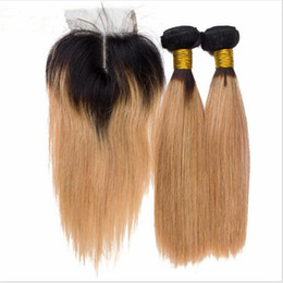 dark roots blonde closure Canada - 9A Virgin Peruvian Blonde Ombre 3Bundles With Closure T#1B 144 Dark Roots Hair Weaves With Closure Silky Straight Blonde Hair With Closure