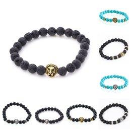 Lion head charm goLd online shopping - Charms Bracelets For Men Women Antique Gold Plated Buddha Leo Lion Head Bracelet Black Lava Natural Stone Beaded Bracelets
