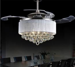 Led Ceiling Fans Light 110V 220V Invisible Blades Modern Fan Lamp Living Room European Chandelier 36 42 Inches
