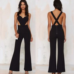 Barato Macacão Preto Profundo V-Atacado - Sexy Peach Heart Solid Black Jumpsuits Loose Hollow Backless Deep V Neck Braces Jumpsuit Queen Nightclub Party Tights Jumpsuits
