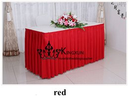 polyester table skirting Australia - RED Color 100% Polyester Table Skirt \ Table Skirting For Many Kind Of Table For Wedding Party Hotel