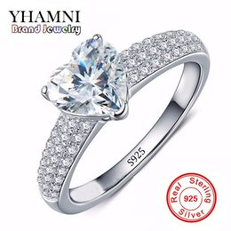 $enCountryForm.capitalKeyWord Canada - YHAMNI Fine Jewelry Solid Silver Rings For Women Real 925 Silver Wedding Rings Set Heart SONA CZ Diamond Engagement Ring Jewelry AR048