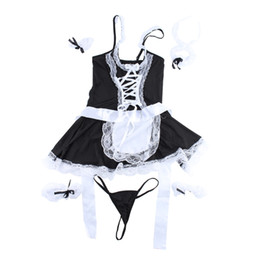 Lolita Cosplay Hot Pas Cher-Hot Sexy Women Lingerie Sets Temptation French Apron Cosplay Maid Servant Lolita Costume Babydoll Dress Sex Product Lenceria 36
