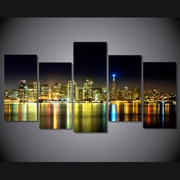 Canvas Prints Free Shipping Australia - 5 Pcs Set Framed Printed The night scenery city Painting on canvas room decoration print poster picture canvas Free shipping ny-4510