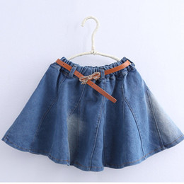 new fresh solid light blue jean toddler girls a skirt with leather beltcotton elastic waist autumn school girls clothes discount knee length blue jean
