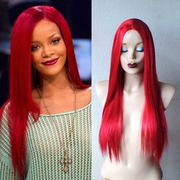 Lace Front Hairstyles Canada - Rihanna hairstyles long red wig silky straight long Human Hair lace front wig bright red lace front wig with midle part