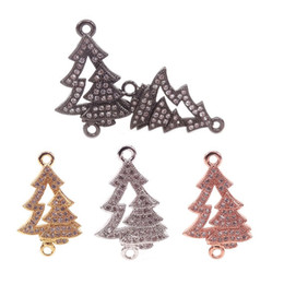 Micro Pave Connectors Australia - Copper Micro Pave Clear CZ Christmas Tree Connector For Bracelets Making,Gold RoseGold Silver Black Plated Christmas Tree Charms,