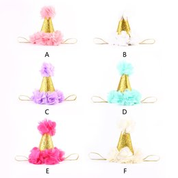 $enCountryForm.capitalKeyWord NZ - Cute Newborn Mini Felt chiffon Girls Infant petals Crown Hat Caps Flowers Headbands For Baby Girls 1st Birthday Party Hats Hair Accessories