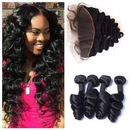 Cheap human hair dhl online shopping - Peruvian Loose Wave Bundles With Lace Frontal Natural Black Cheap Human Hair Extensions G EASY DHL FREE