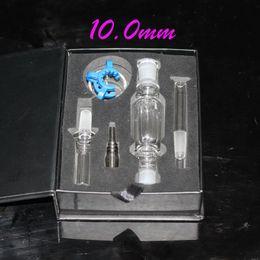 Bong Kits Australia - DHL Free Black Red 10mm mini nectar collector Kit glass tip+GR2 titanium tip, IN STOCK! oil rig mini glass water bong