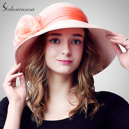 Girls Handmade Sun Hat NZ - Wholesale- Summer sun hat female holiday Wide Brim beach Hat For Women sun visor caps handmade Flower Decoration girls Ladies Hats SW105070