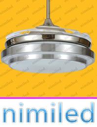 "retractable remote control 2019 - nimi904 36"" 42"" Invisible Dining Room Living Room Bedroom LED Retractable Ceiling Fan Lights Chandelier Pendan"