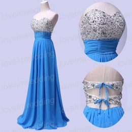 Barato Vestido De Noite De 22 24-2016 Sexy Strapless Prom Dress frisada Criss Cross Blue Chiffon A Festa Linha Evening Formal Vestido Custom Made 2 4 6 8 10 12 14 16 18 20 22 24