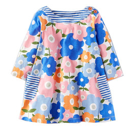 Full Clothes UK - Kids Dresses for Girls Clothing Jersey Baby Girls Long Sleeve Dress Girls Casual Cotton Flowers Print Dress
