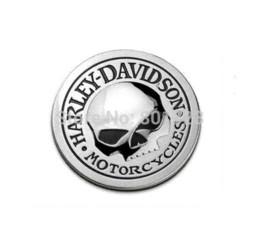 Car Emblem Logos Badges UK - 1pc car decoration auto modification 3D metal round skull logo car sticker decal metal skull auto car badge rear emblem