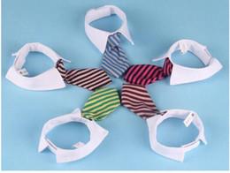 Discount summer dog collars - Pet Dog Striped Tie collar Cat Bow Cute Dog Necktie Wedding Adjustable Puppy Red Blue Khaki