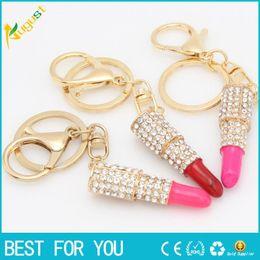 $enCountryForm.capitalKeyWord Canada - Lipstick Rhinestone Crystal Key ring Charm Pink Pendant Car Gold Key Chain For Woman Gift new hot