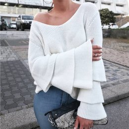 Barato Ponchos Pescoço-2017081402 Mulheres Camisolas de malha Pullovers Sexy V Neck Long Flare Sleeve poncho pullover Mulheres jumper sueter mujer