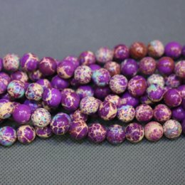 purple jasper beads NZ - Jasper Natural Purple Stone Beads Gemstone Emperor Imperial Jasper Beads Round Smooth Beaded Wholesale Price Women Necklace Making Jewelry
