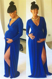 Wholesale Últimos Vestidos De Maternidade Sexy Com Fenda Lateral V Neck  Royal Blue Baby Shower Manga