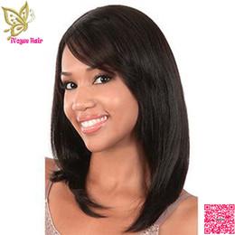 Großhandel Bob Menschenhaar volle Spitze Perücken mit Seite Pony Virgin brasilianische seidige gerade Spitze Front Perücke mit gebleichten Knoten Baby Haar