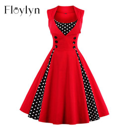 Discount short red dress size xl - Wholesale- Floyln 2017 New 50s 60s Retro Vintage Dress Audrey Hepburn Sleeveless Spring Summer Patchwork Plus Size Red W