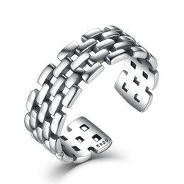 $enCountryForm.capitalKeyWord Australia - Genuine 925 Sterling Silver Open Adjustable Rings Women Men Vintage Chain Patterns Finger Ring Fine Jewelry VSR006