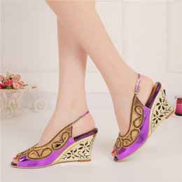 Shoes Purple Sandals Canada - Purple Summer Sandal Wedge Heel Peep Toe Rhinestone Fashion Women Dress Shoes Slingback Nightclub Party Prom Shoes Wedding Pumps