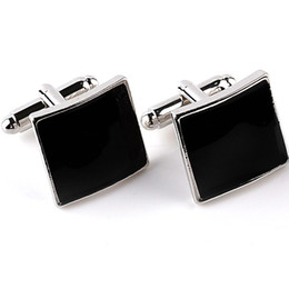 Discount plated mens silver cufflinks - Formal Occasion Business Cufflinks Square Black Brand Mens French Cuff Links For Sleeve Geometric Rectangle High Quality