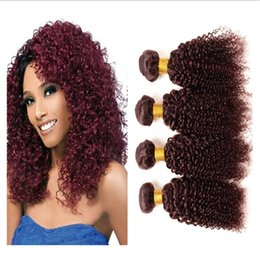 cheap curly red hair Canada - Cheap Brazilian 99J Wine Red Human Hair Kinky Curly Human Hair Weaves Extensions 4Pcs Lot Brazilian Wine Red Human Hair Bundles Kinky Curly
