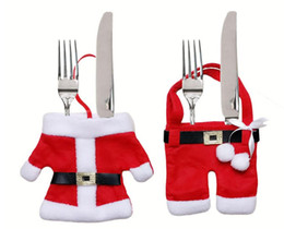 handmade santa claus suit Australia - Handmade Mini Clothes Pants Shaped Christmas Santa Claus Cutlery Suit Silverware Holder Knives and Forks Pockets Gift