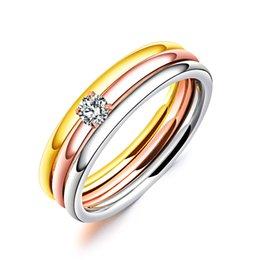 Discount engagement ring finger for female - 3 PCS Set Zircon 316L Stainless Steel Wedding Rings For Women Gold Color Crystal Titanium Engagement Finger Rings Female