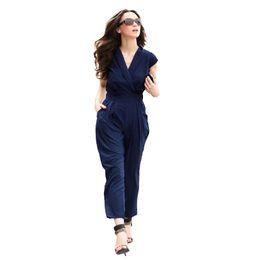 a965a90690 Wholesale- 2017 Sexy Jumpsuits Summer Bodysuit Women Short Sleeve Pocket V- Neck Side Zipper Fashion Catsuit Office Lady Playsuit Plus Size