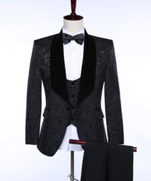 $enCountryForm.capitalKeyWord Canada - Classic black flowers New Men's Wedding Suits Slim Fit Groom Tuxedos Groomsmen Formal (jacket + pants + vest) Custom Made