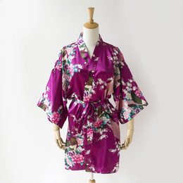 $enCountryForm.capitalKeyWord Australia - Wholesale- Sexy Purple Bridesmaid Wedding Silk Robe Dress Lady Mini Kimono Yukata Gown Summer Sleepwear Plus Size S M L XL XXL XXXL A138