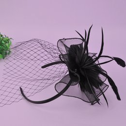 Voiles Nuptiales Pour Cages D'oiseaux Pas Cher-CHENLVXIE Elegant Tulle Feather Wedding Bridal Hats Veste à cage d'oiseau Fascinators / Headpiece / Party Hat / Corsage Livraison gratuite