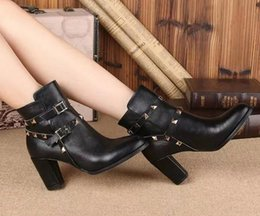 Western coWboy belts online shopping - vogue TOP QUALITY FASHIONVILLE U480 BLACK GENUINE LEATHER ROCK STUD BELT THICK HEELS BOOTS SHORT
