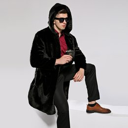 Barato Casacos De Pele De Homem S Falso-Atacado- HONGZUO 2017 New Arrival Winter Thick Warm Men Fur Coat Luxo Faux Mink Fur Coat Casaco com capuz de peles artificiais Parka PC259