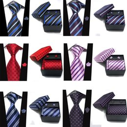 Discount ties sets Retail Mens Neckties Sets Width 9 Cm Ties + Cufflink + Hanky + Gift Box 4 Piece Sets Men Accessories Free Shipping