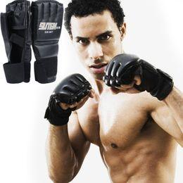 Protector kick boxing online shopping - Fitness Supplies Leather Half Finger Fight Boxing Gloves Sanda Karate Sandbag Taekwondo Protector Mma Muay Thai Kick Boxing Gloves Gear