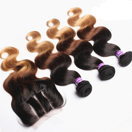 27 pcs human hair extension Canada - Brazilian Hair Ombre Three Tone #1B#4#27 Honey Blonde Color 3 Part Body Wave Lace Closure With 3 Pcs Human Hair Extension Bundles